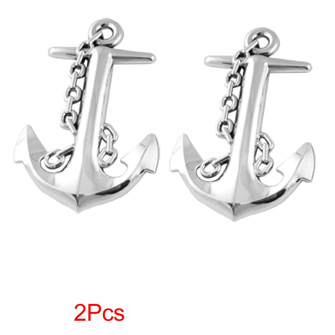 Auto Silver Tone 3D Anchor Shape Adhesive Sticker Badge Decals 2Pcs