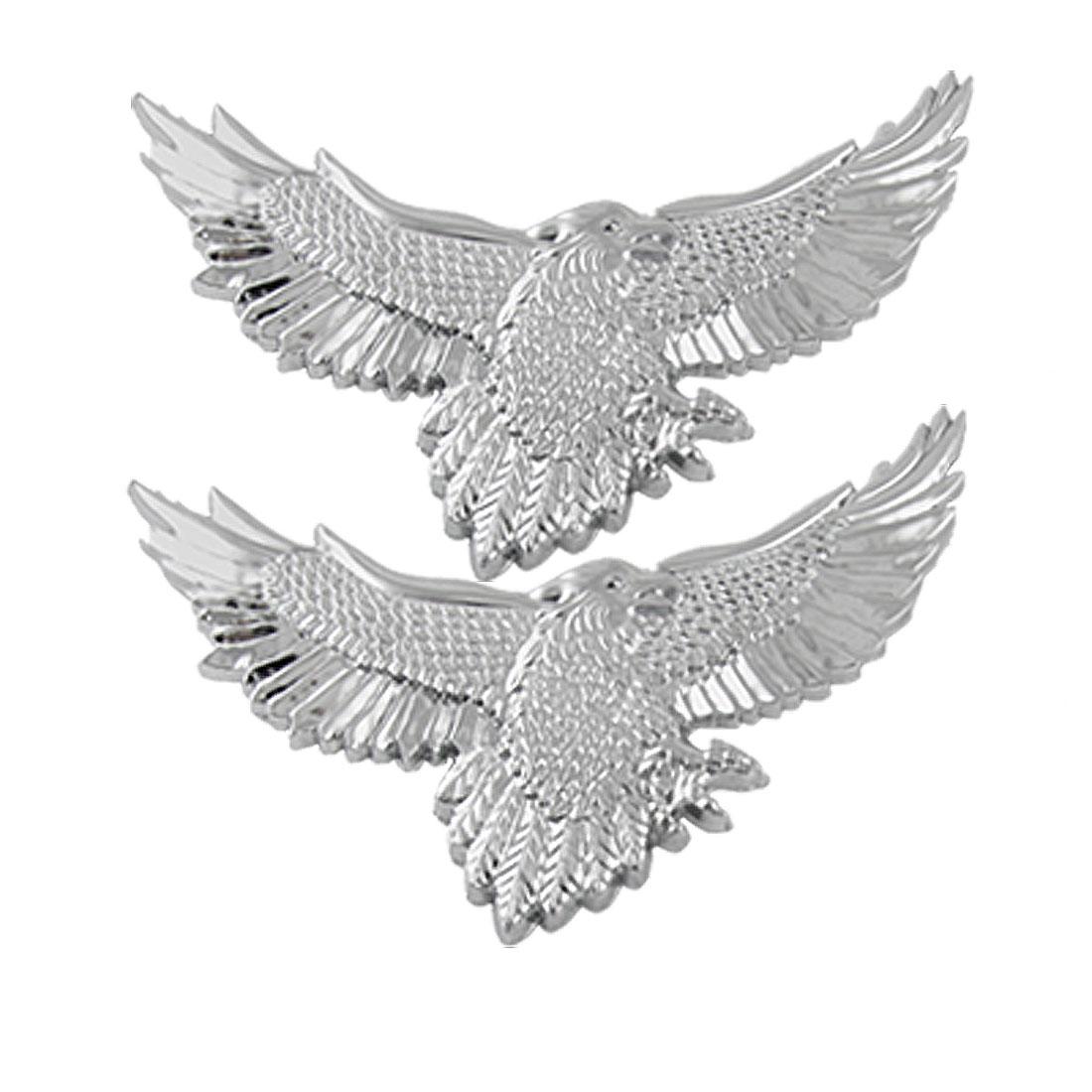 2Pcs Glossy Silver Tone Eagle Adhesive Emblem 3D Sticker Car Badge