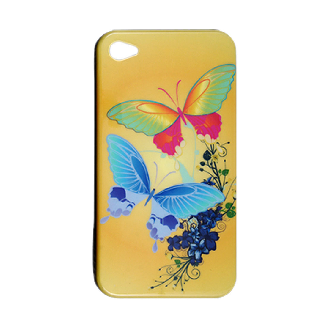 Hard Plastic Two Butterflies Printed Back Case for iPhone 4 4G