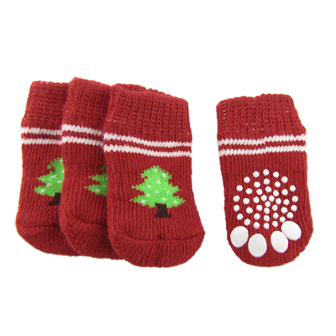 Red White Nonslip Christmas Tree Print Pet Dog Knitted Socks