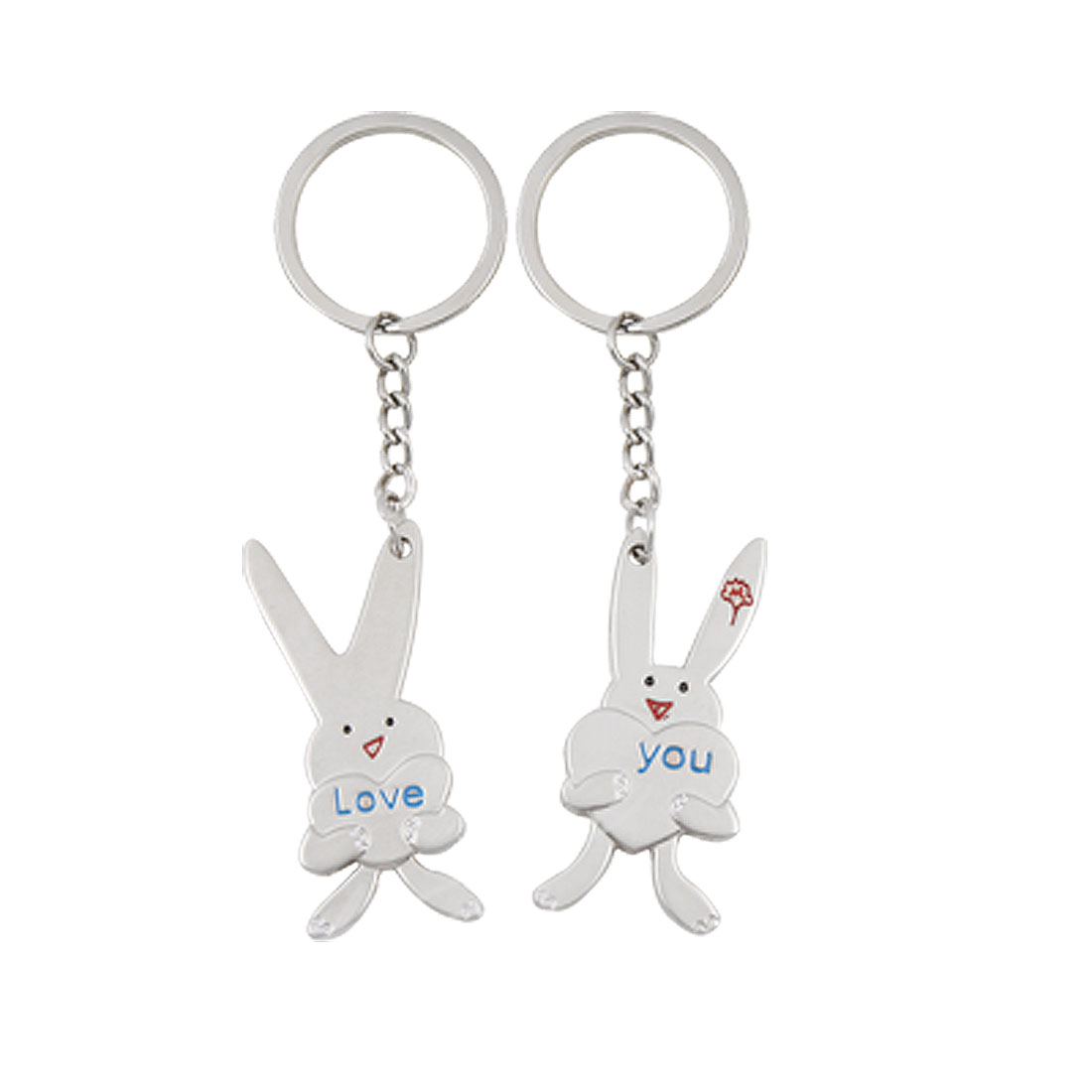 Metal Rabbit Shaped Pendant Lovers Pair Key Chain