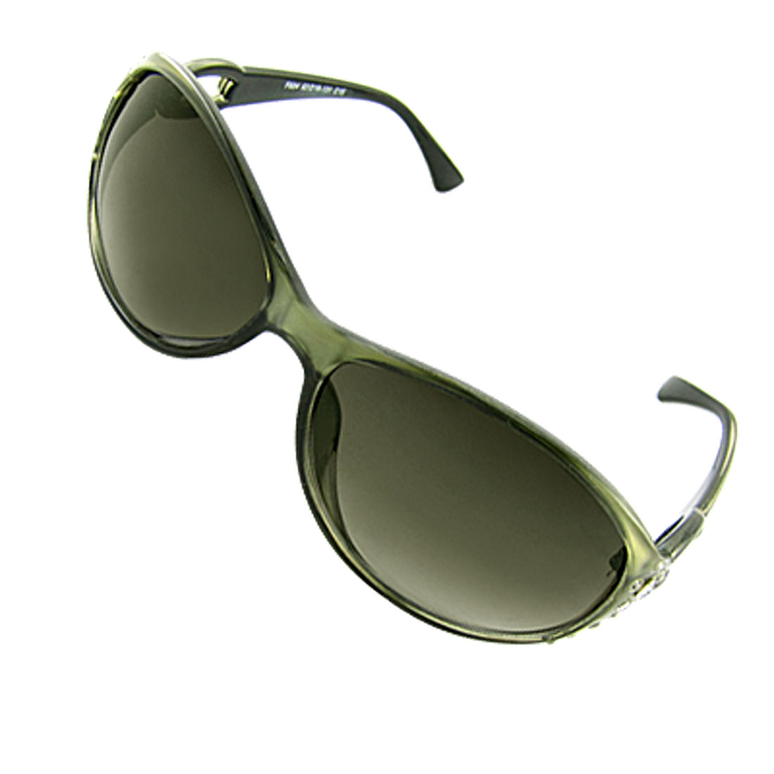 Rhinestone Decor Plastic Frame Dark Olive Green Sunglasses