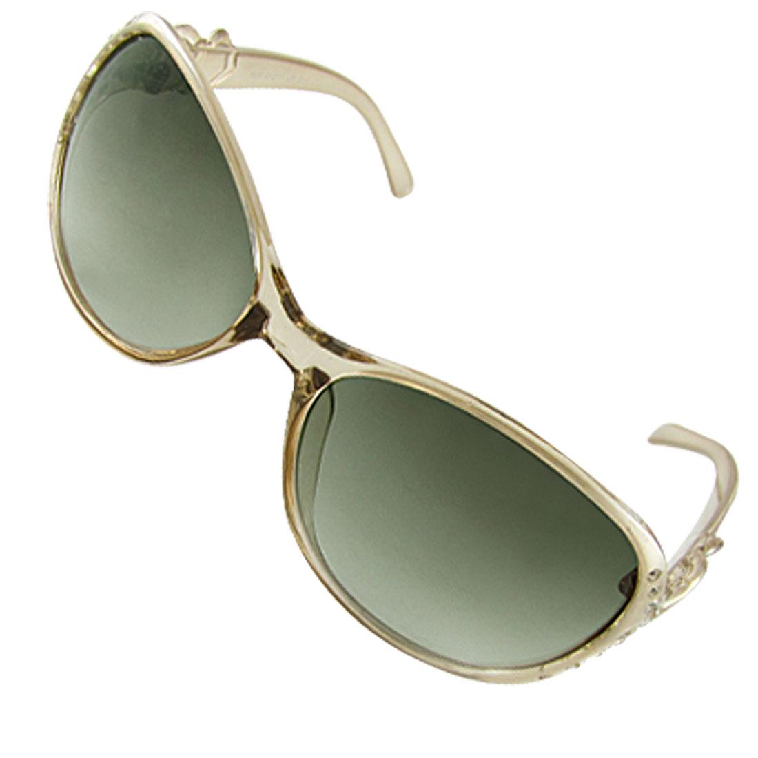 Women Rhinestone Decor Frame Dark Green Lens Sunglasses