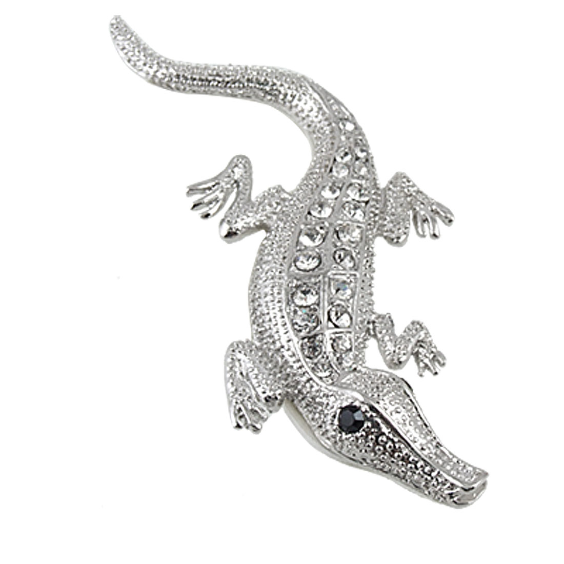 Car Silvery Crocodile Style Rhinestone 3D Stickers Decoration