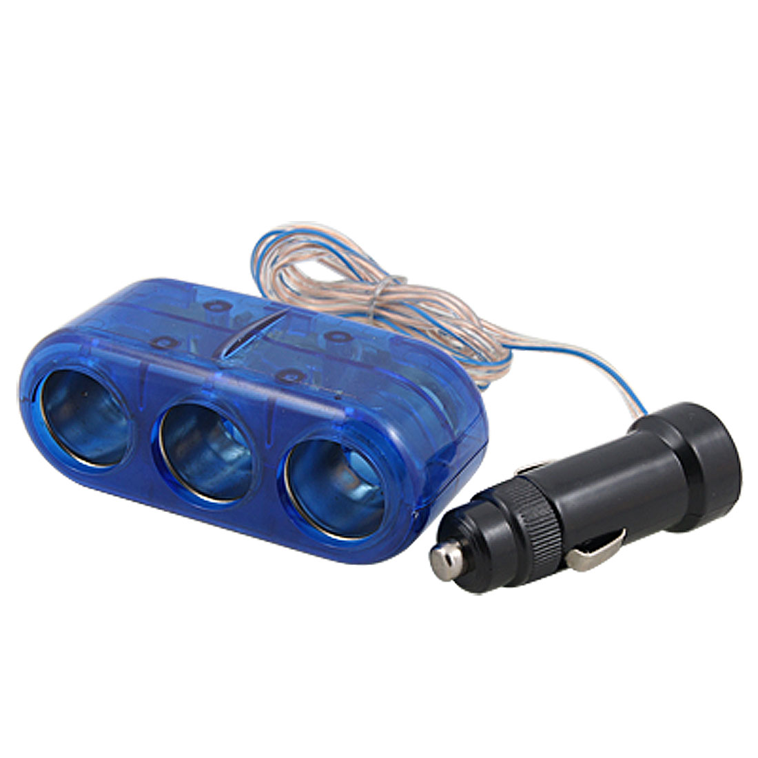 Blue 1 to 3 Car Cigarette Lighter Splitter Adapter