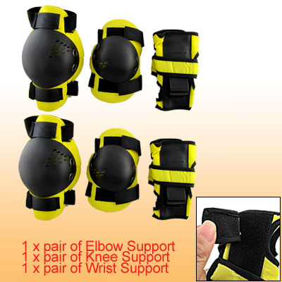 Black Yellow Elbow Wrist Knee Pad Protective Gear for Kid XS
