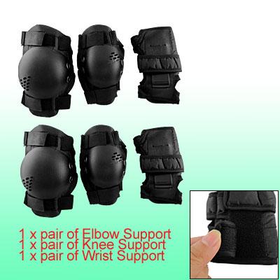 Child Black Sponge Pad Elbow Wrist Knee Support Protector