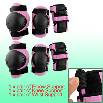 Skating Sports Elbow Wrist Knee Pad Protector Guard Gear Pink Black for Kid