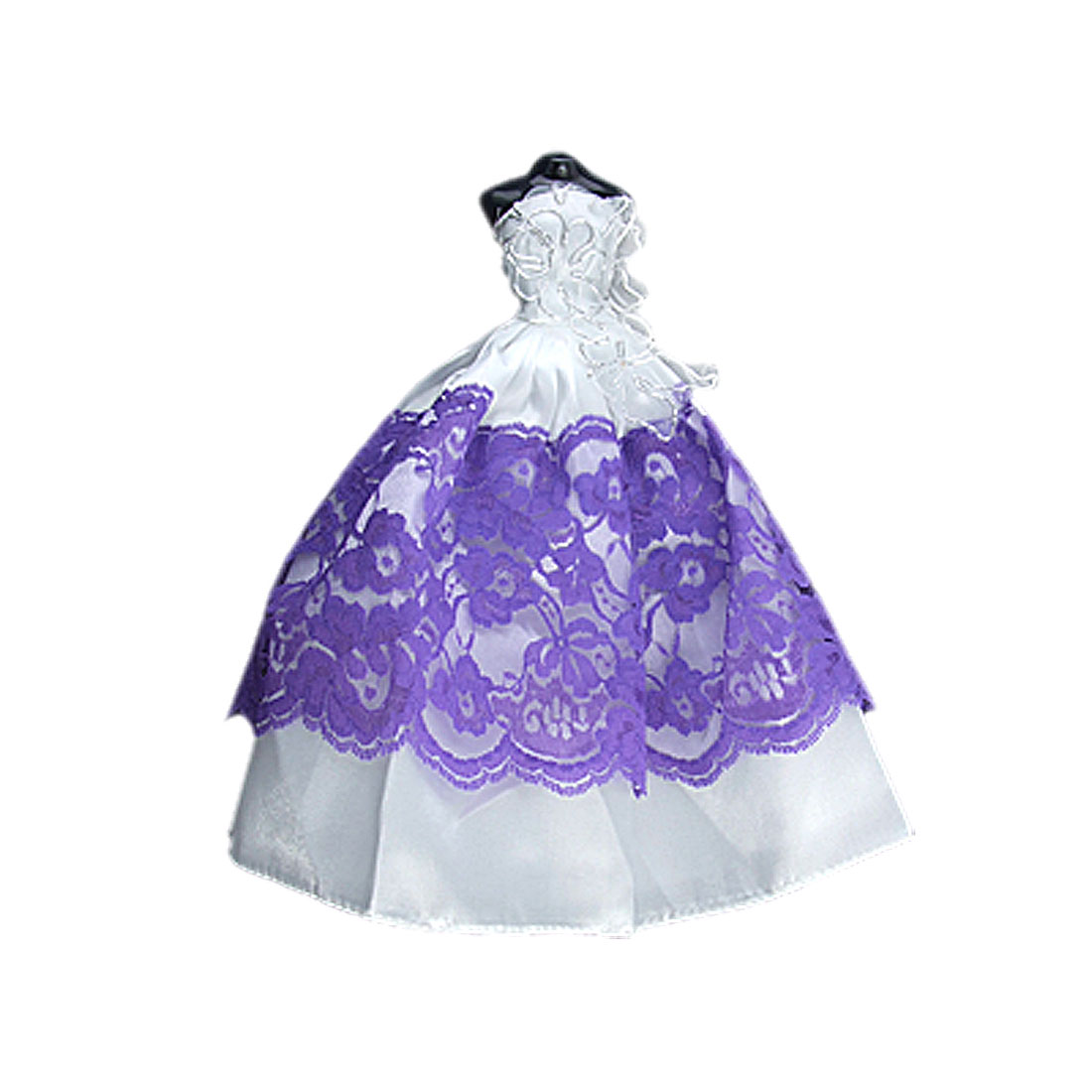 Sleeveless White Purple Back Velcro Fastened Doll Dress