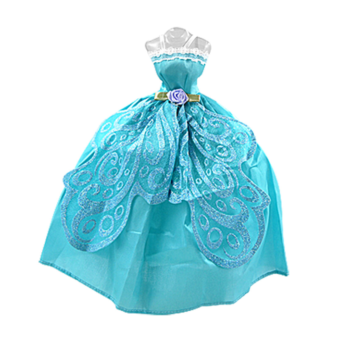 Cyan Laced Trim Rose Waist Butterfly Wing Doll Spaghetti Long Dress