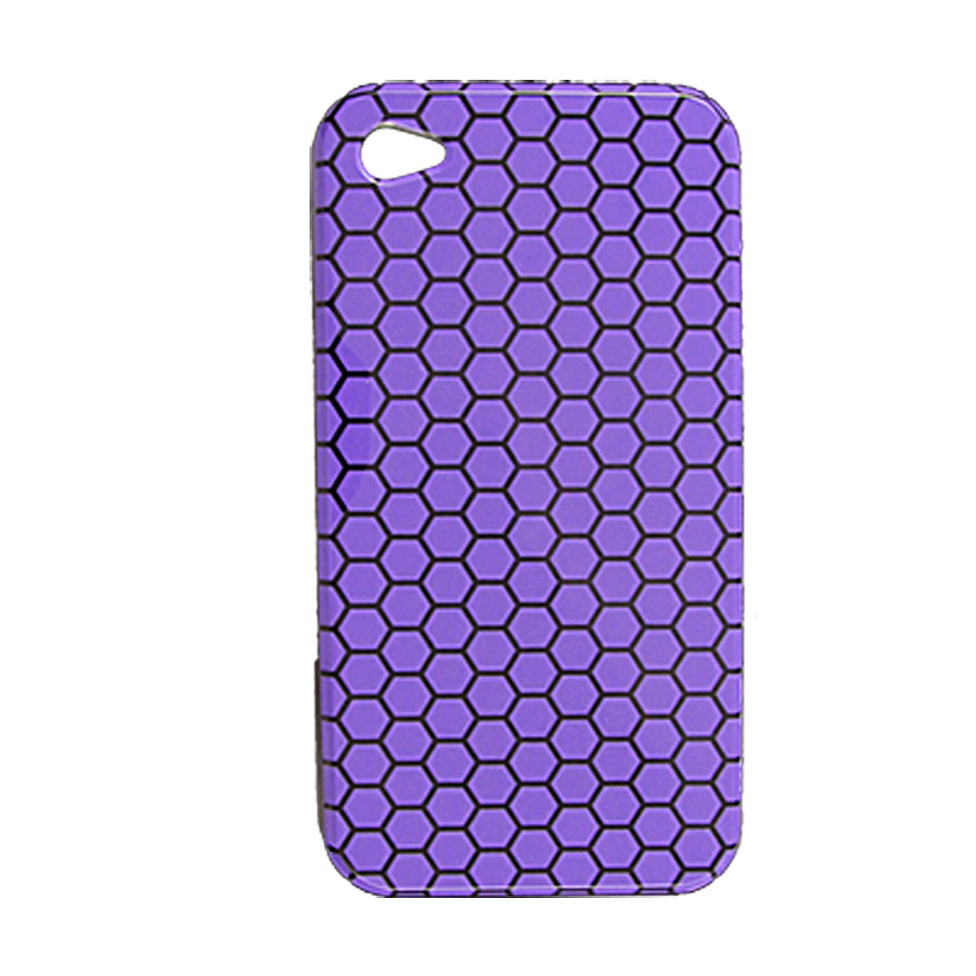 Plastic Purple Back Black Hexagonal Case for iPhone 4 4G