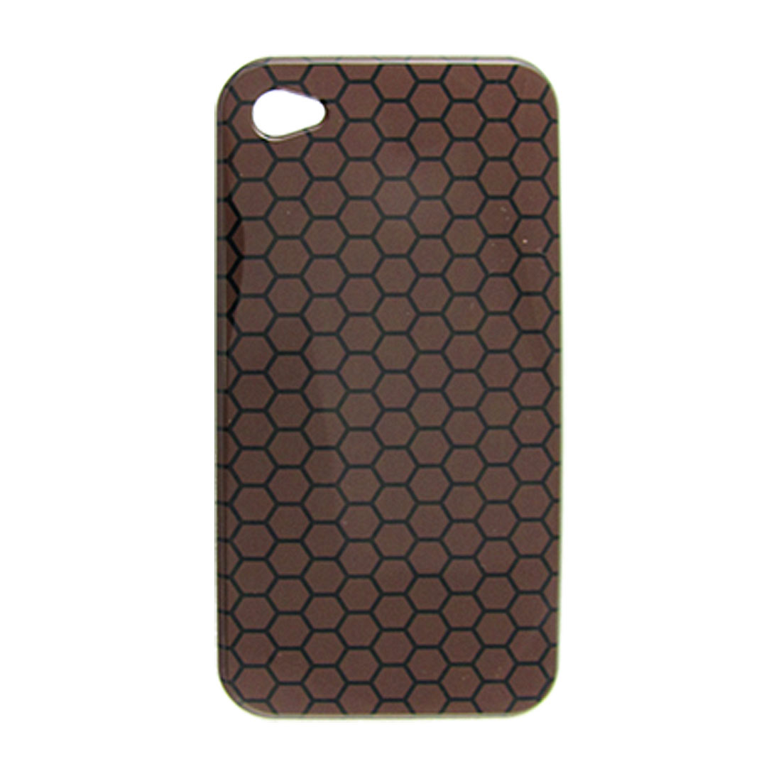 Coffee Back Black Hexagonal Plastic Case for iPhone 4G