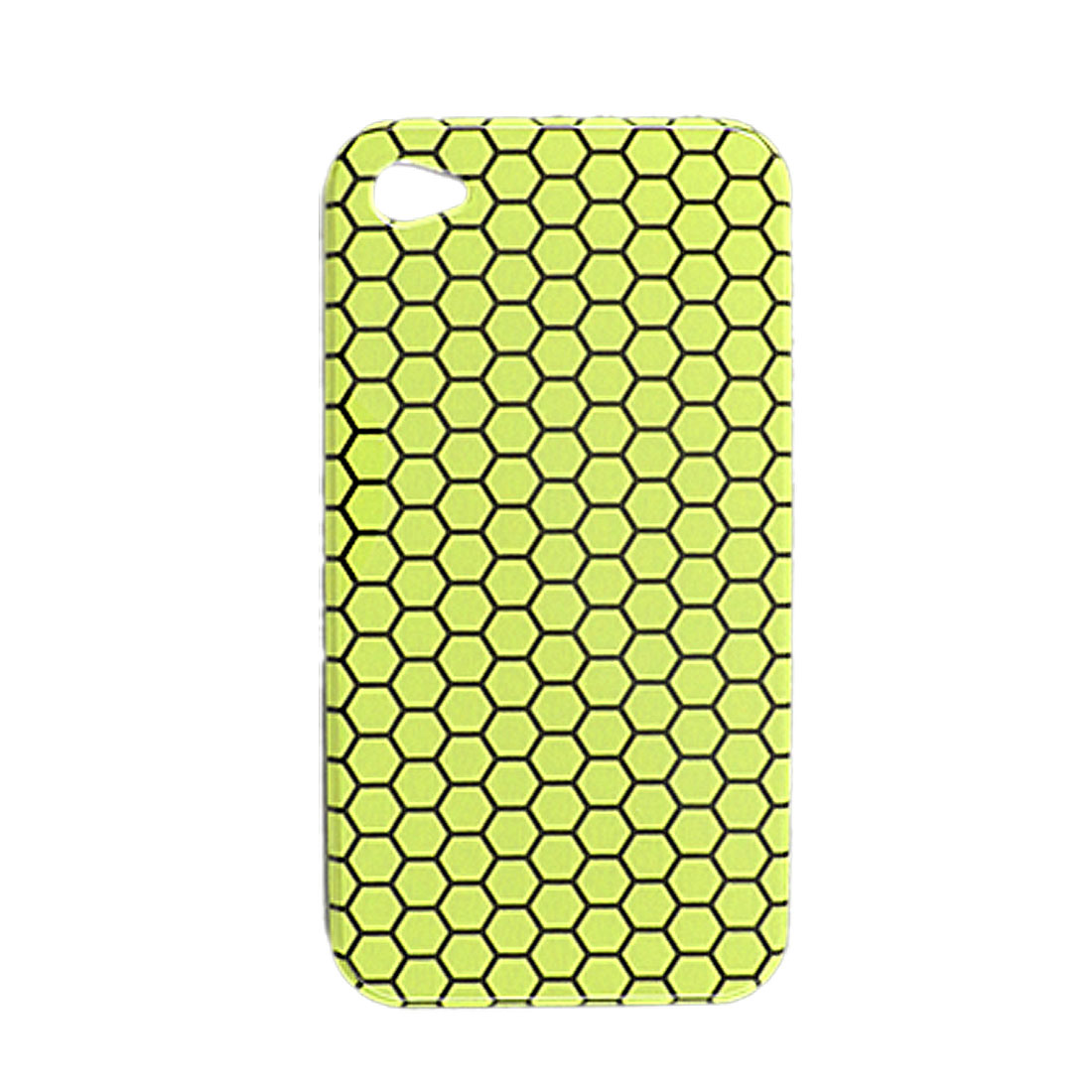 Black Hexagonal Yellow Back Case for Apple iPhone 4 4G