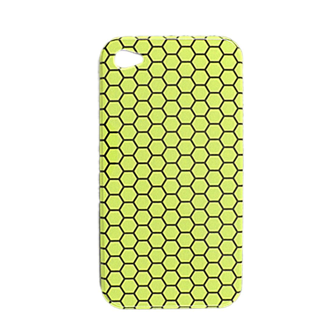 Black Hexagonal Yellow Back Case for Apple iPhone 4 4G