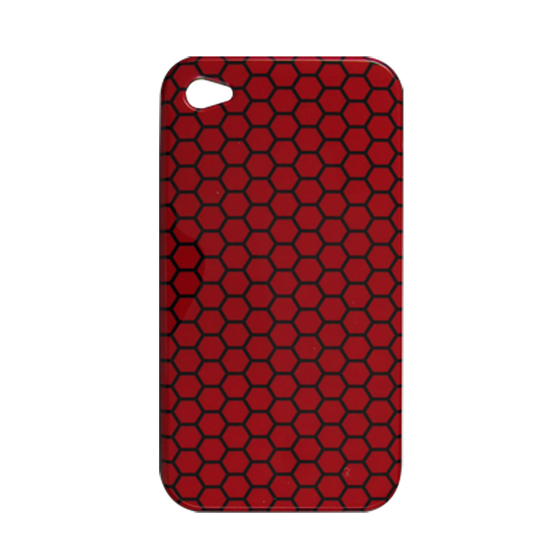Back Black Hexagon Red Plastic Cover for iPhone 4 4G