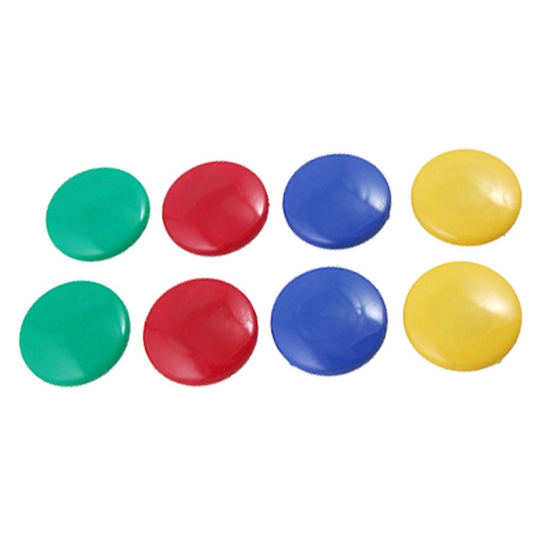 40mm Diameter Plastic Assorted Color Magnetic Button 8PCS