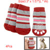 Red Gray Striped Nonslip Knitting Warm Socks for Pet dog