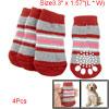 Red Gray Striped Nonslip Knitting Warm Socks for Pet dog