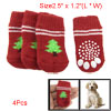 Pet Puppy Red White Antiskid Christmas Tree Decor Warm Socks
