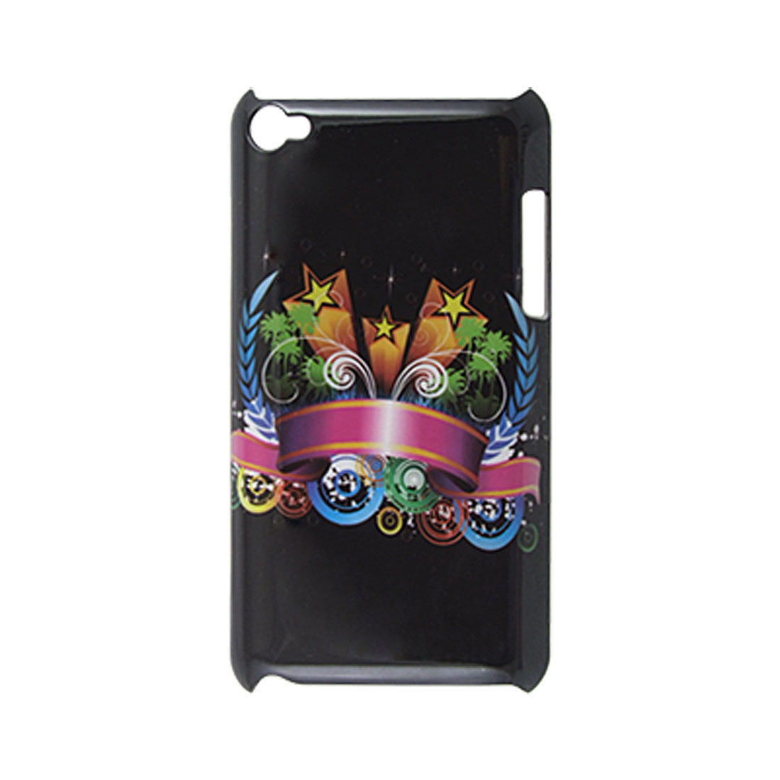 Star Tree Ribbon Hard Plastic Back Case Black for iPod Touch 4G