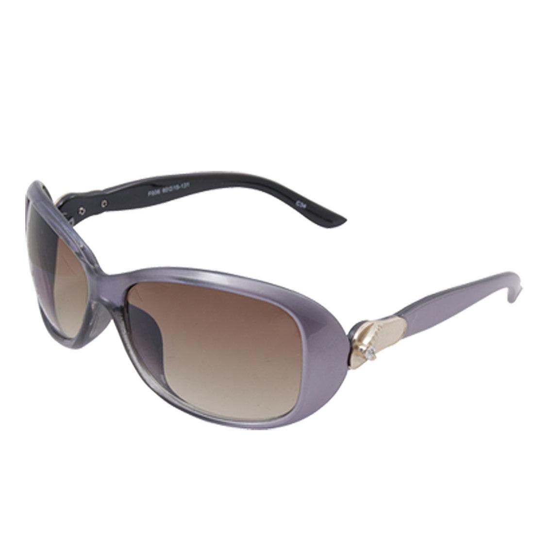 Purple Plastic Full Frame Coffee Oval Lens Sunglasses for Ladies