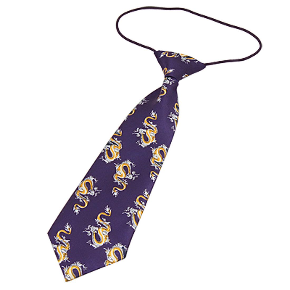 Children Nevy Blue Dragon Smooth Polyester Necktie