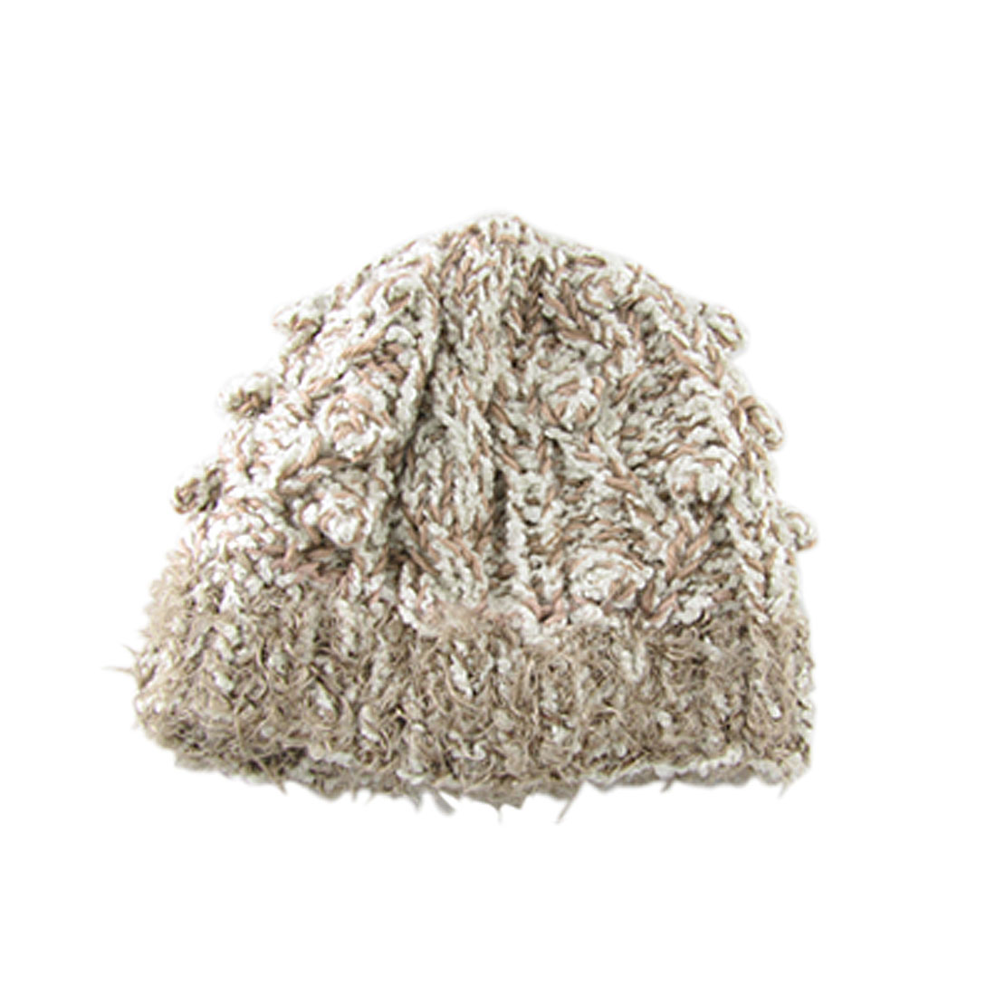 Braided Design Hand Knit Beanie Popcorn Hat Brown White
