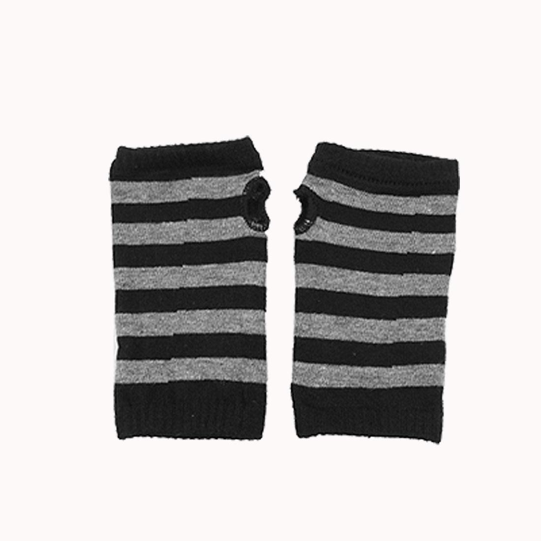 Pair Black Gray Striped Mitten Warm Fingerless Gloves for Ladies