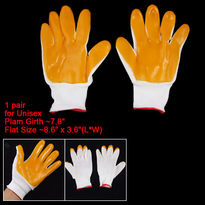 Unisex Pair of Orange Latex Rubber Palm White Working Gloves
