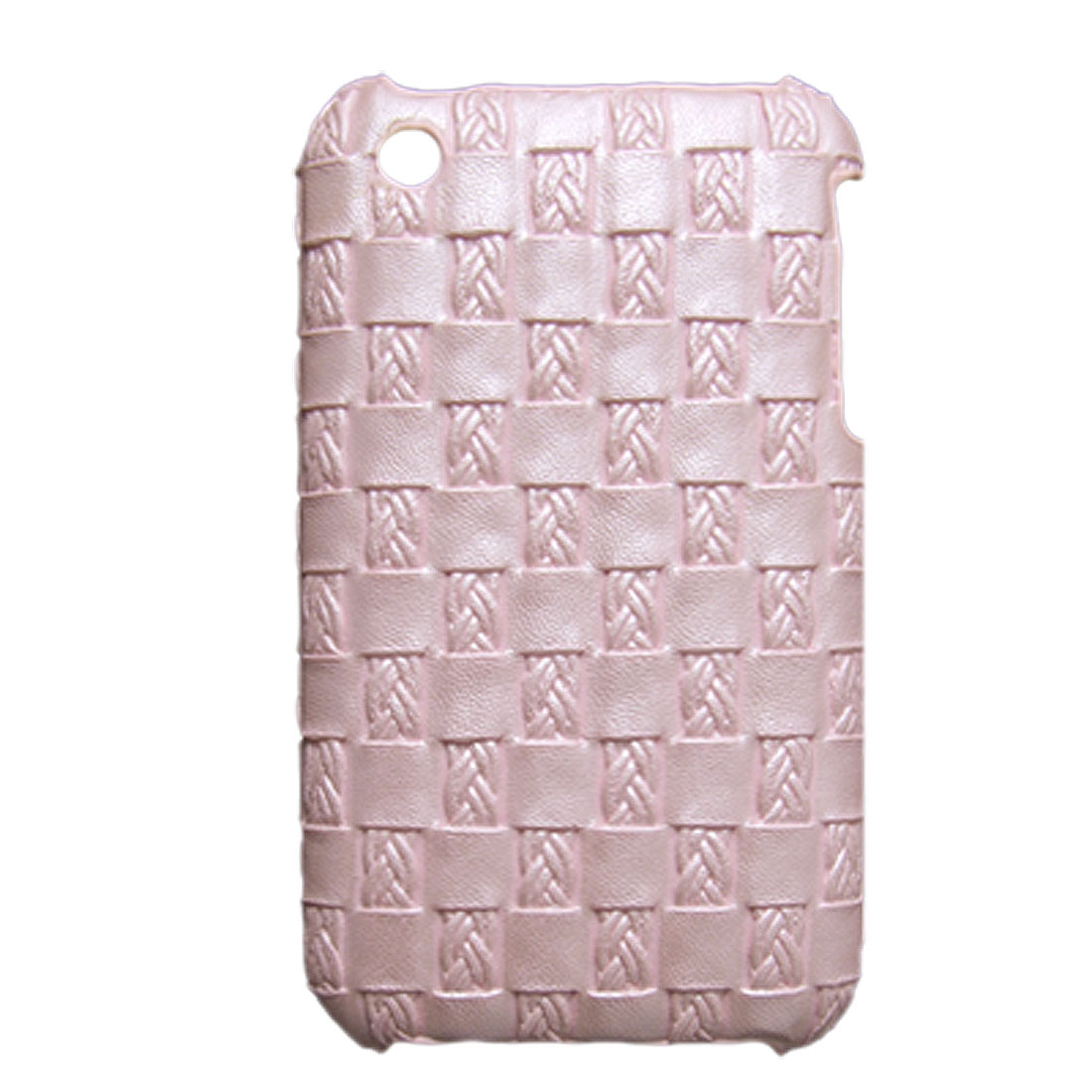 Nonslip Braided Pink Faux Leather Coated Hard Back Case for iPhone 3G