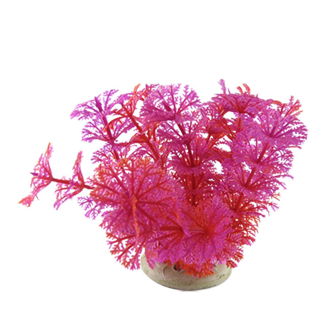 Fuchsia Red Plastic Grass Stone Base Aquarium Ornament