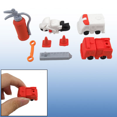 White Red Fire Truck Rubber Puzzle Erasers Toy for