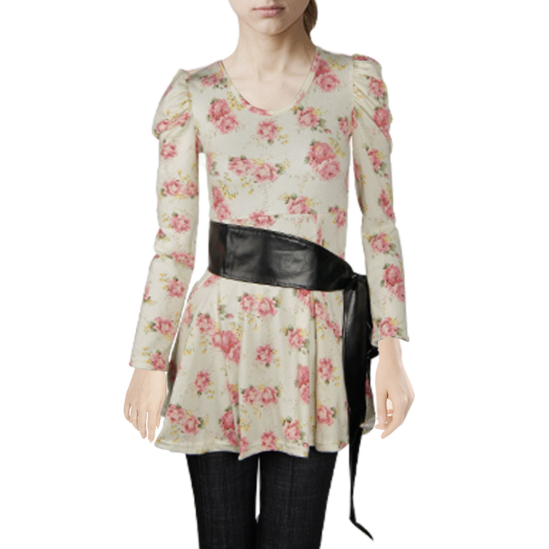 Ladies Beige Puff Long Sleeves Pink Floral Autumn Shirt XS