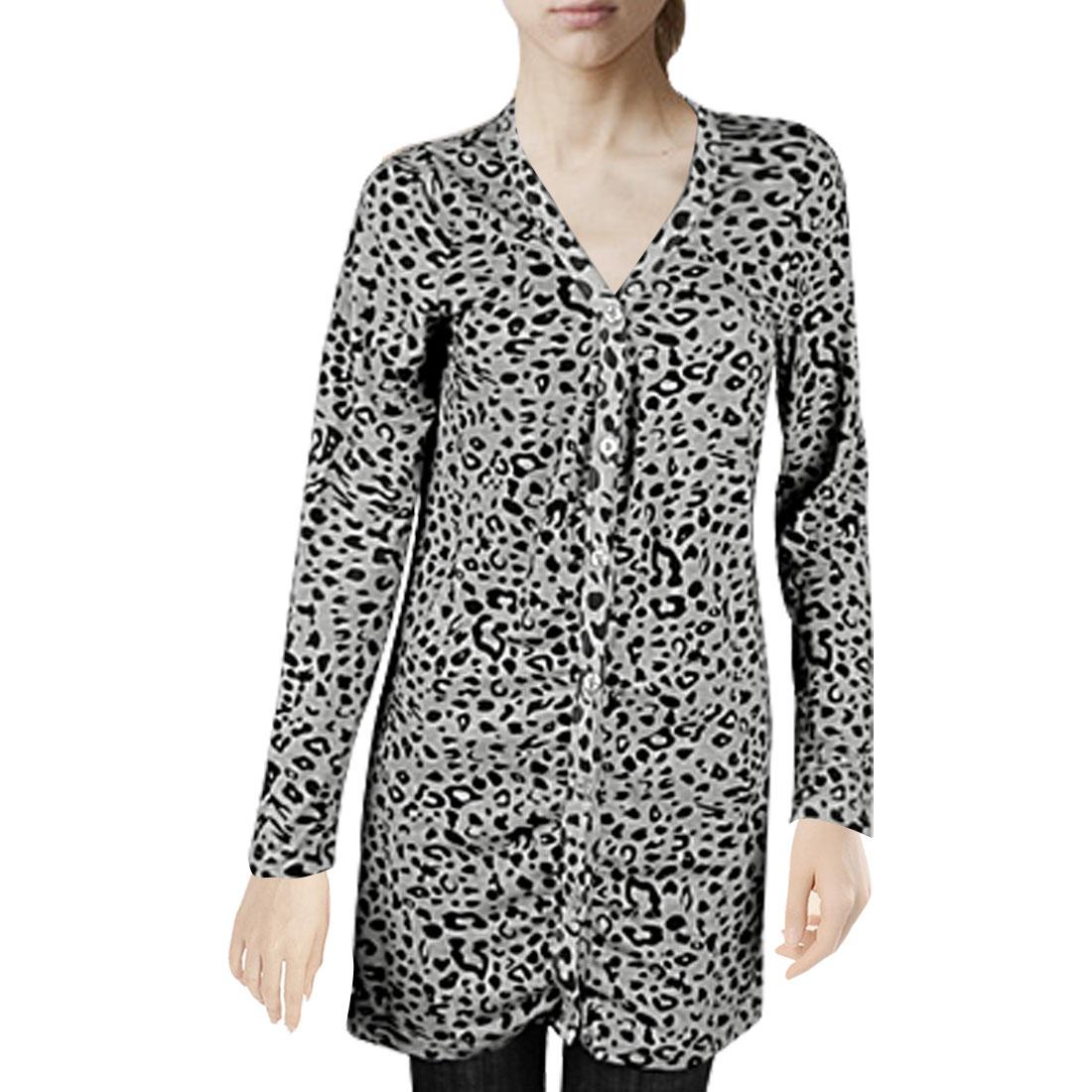 Ladies Black Leopard Printed Long Sleeves Gray Autumn Cardigan Top XS