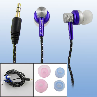 Black Purple 3.5mm Plug Earphone Nylon Earbud for MP4