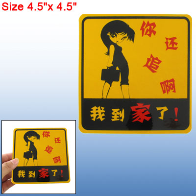 Gold Tone Black Red Cartoon Girl Style Bumper Sticker for Car
