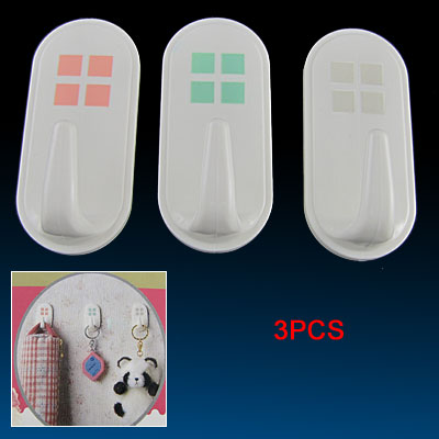 3Pcs White Plastic 1.5kg Load Gadgets Adhesive Wall Hook