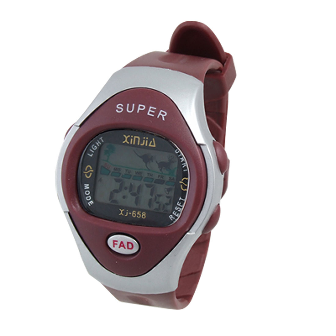 Unisex Dark Red Plastic Watchband Digital Display Sports Watch