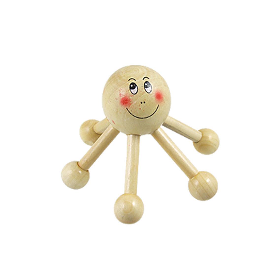 Smiling Face Massager Head Hand Wooden Massage Roller 6 Legs