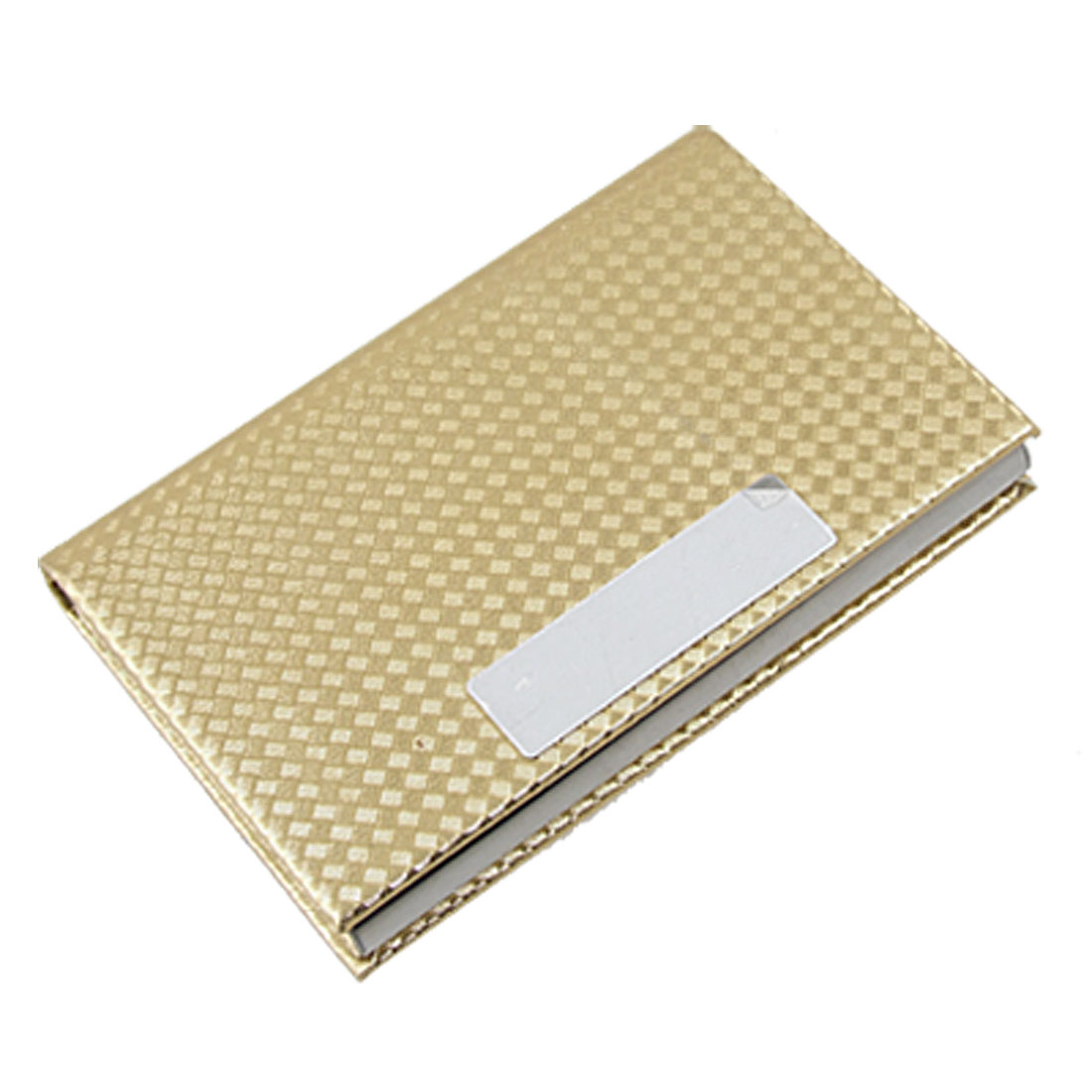 Gold Tone Faux Leather Magnetic Name Card Case Holder