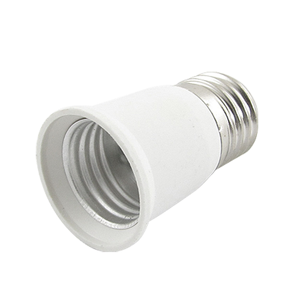 E27 to E27 Bulb Holder Silver Tone White Adapter Extender