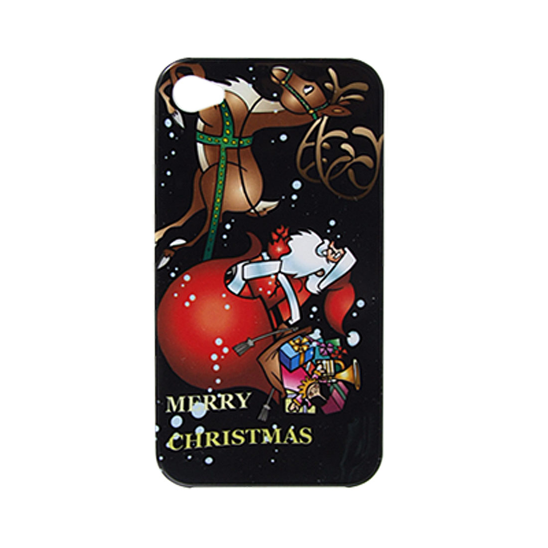 Santa Deer Colored Print Plastic Back Case Black for iPhone 4 4G