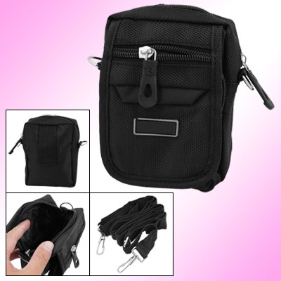 Black Nylon 3-Pocket Zippered Digital Camera Holder Waist Shoulder Bag