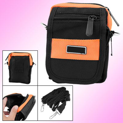 Black Orange Nylon Zipper Hook and Loop Fastener Closure Digital Camera Pouch Bag w Strap