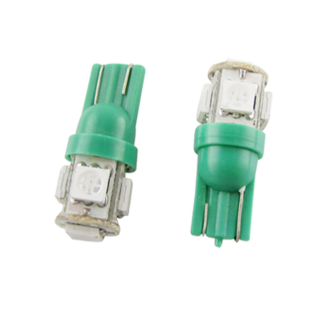 DC 12V Green T10 5050 5 SMD LEDs Car Turning Side Light Bulbs Pair