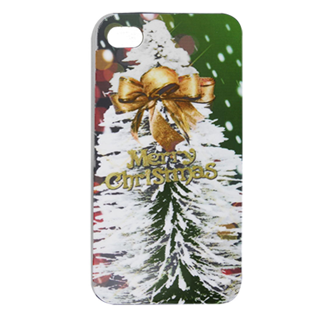 Tree Bowknot X'mas Hard Plastic Cover for iPhone 4 4G