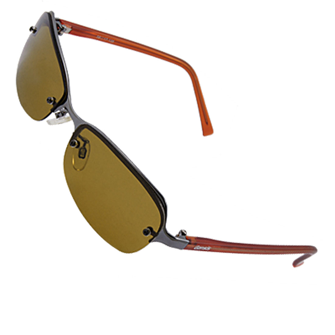 Semi Rim Metal Frame Brown Plastic Arms Polarized Sunglasses
