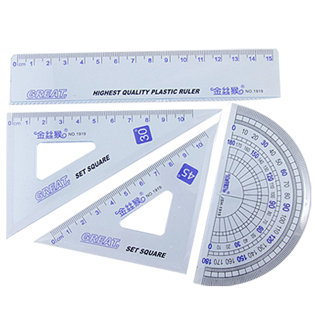 4PCS Plastic Clear Blue Geometry Ruler Combination Sets