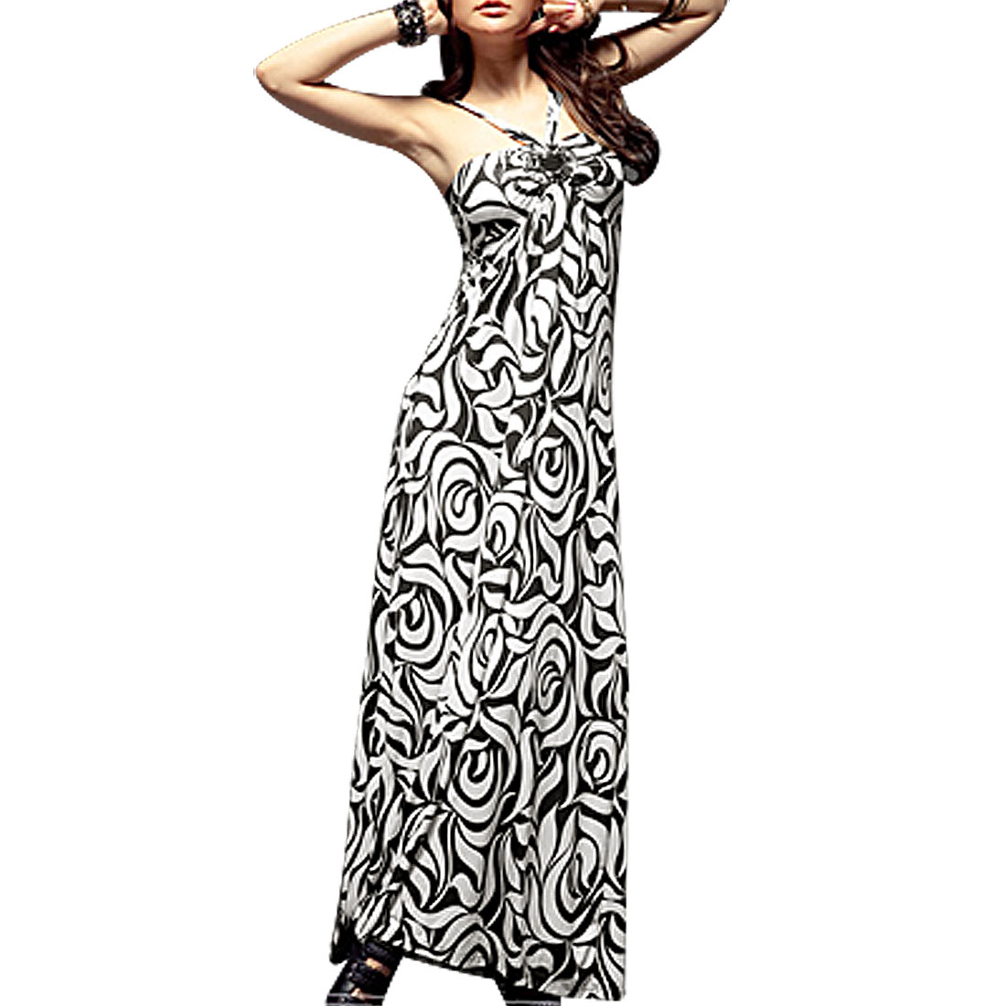 A Line Halter Neck Black White Rose Print Long Dress XS