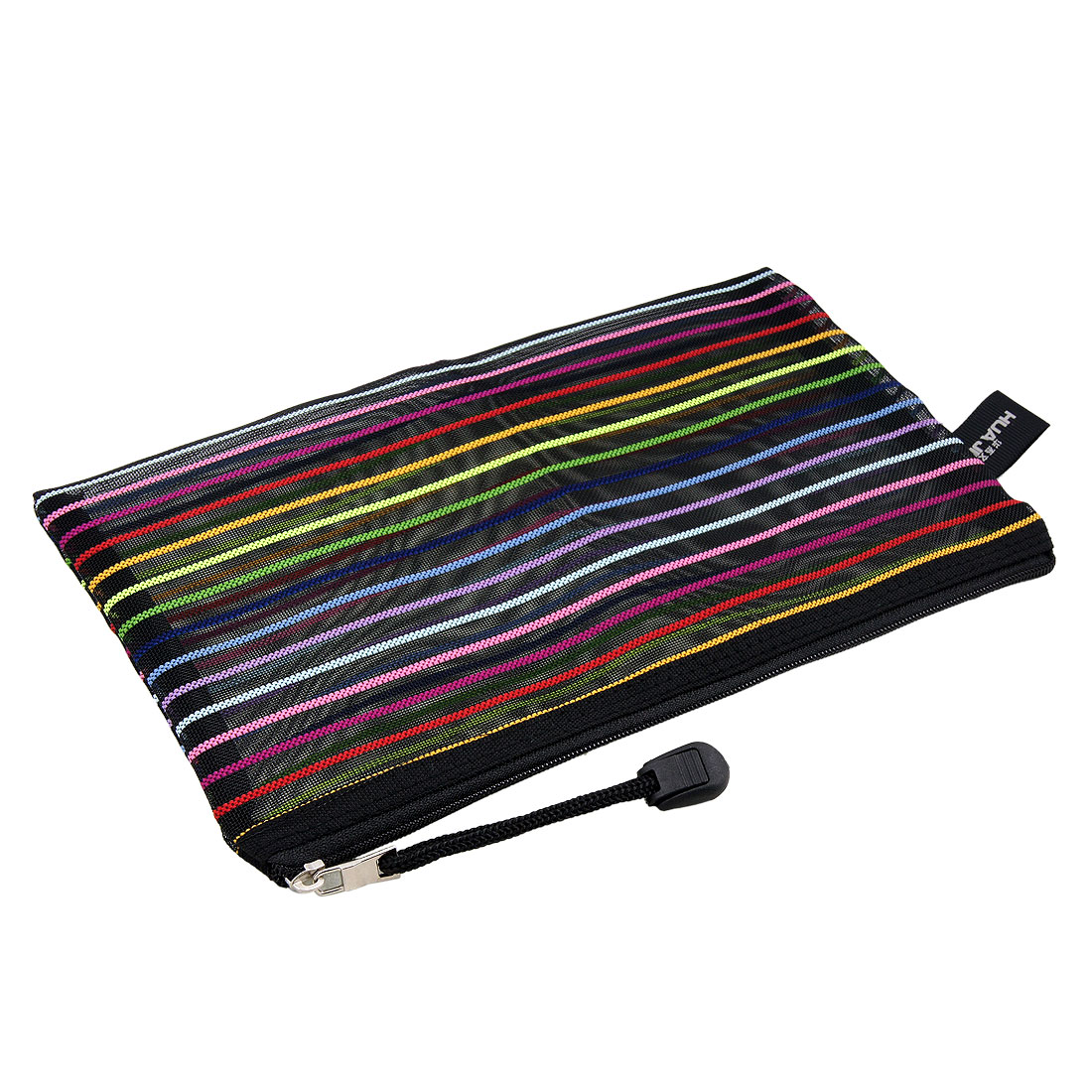 Meshy Style Colors Stripes Sheer Black Zipper File Bag Holder